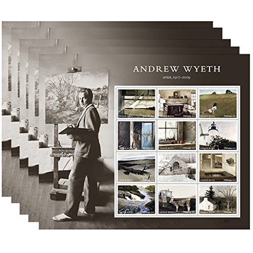 Andrew Wyeth Blatt 12USPS First Class Briefmarken American Künstler Gemälde 5 sheets of 12
