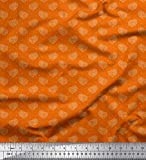 Soimoi Orange Baumwoll-Popeline Stoff dot & Paisley Stoff
