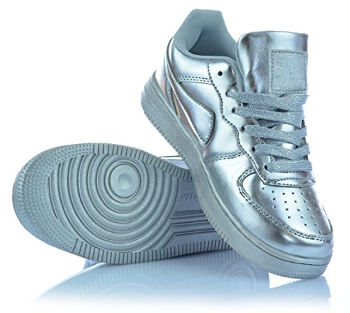 Schn眉rer Freizeitschuhe Low Silber M盲dchenschuhe Silber Metallic Gold Top Sneaker wFAZIq