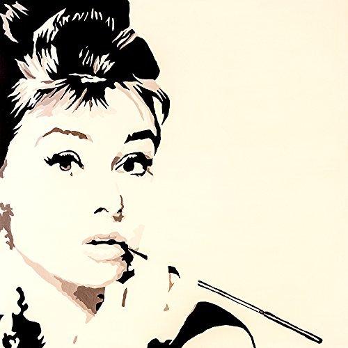 Buyartforless Just Smokin von popartqueen 12x 12Kunstdruck Poster Wall Decor Pop Art Poster Audrey Hepburn Pop Art schwarz und weiß Hollywood Iconic Beauty Classy Lady