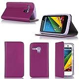 Motorola Moto G 4G/LTE Tasche Leder Hülle Lila Violett
