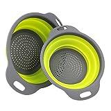 Fletion 2 Stück/Set Faltbarer Frucht Korb Waschkorb Silikon Sieb Faltbare Seiher Küche Werkzeug