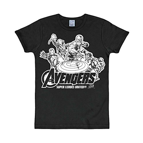 The Avengers - Marvel Comic T-Shirt di Capitan America, Iron Man, Hulk, Thor - Girocollo in bianco e nero - XL