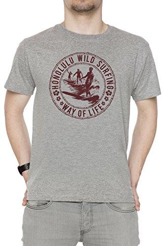 Honolulu Wild Surfing Uomo T-shirt Grigio Cotone Girocollo Maniche Corte Grey Men's T-shirt