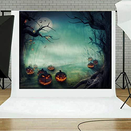 (Jamicy® 5x3ft Hintergrund für Grimasse Kürbis Laterne Bokeh Orange Fotografie Hintergrund Happy Halloween Party Decor Feier Tradition Urlaub Kinder Kind Foto Studio Requisiten Vinyl Tapete (B))