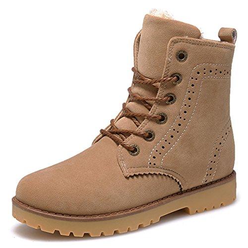 Gaatpot Damen Schnür Stiefeletten Warm gefütterte Combat Boots Leder Winter Stiefel Schuhe Braun 41 EU