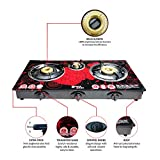 DIGISMART 3 Burner Auto Ignition Top Glass Surya Aksh Gas Stove (Red)
