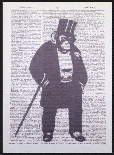 Vintage Schimpanse Wörterbuch drucken Seite Art Wand Bild Affe Tier Anzug Chimp Schimpansen-anzug