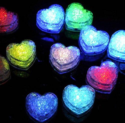 URGrace 12Pcs Water Sensor Multi Colors Changing Blinking Flashing Love Heart Shaped Led Ice Cubes Event Party LED Luminous For Wedding Club Bar Drink KTV Decoration