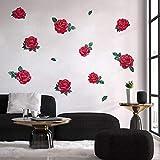 decalmile Stickers Muraux Roses Rouges Autocollant Décoratifs Fleurs Décoration Murale Fille Chambre Salon Salle de Bain