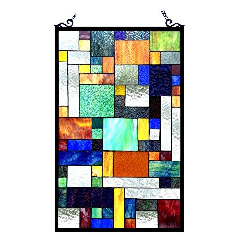 Chloe Beleuchtung Avantgarde-gebeizt Glas Rechteck Fenster Panel 20x 32 (Schattierungen Tiffany)
