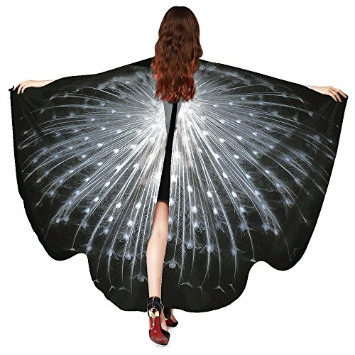 Lazzboy Kostüm Zubehör Frauen Pfau Flügel Schal Schals Damen Nymphe Pixie Poncho (M,Schwarz)