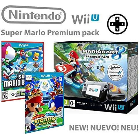 Nintendo Wii U consola Premium Pack 32GB + Mario Kart 8 + Mario & Sonic En Las Olimpiadas De Río 2016 + Super Mario & Luigi U - Mega Pack 4