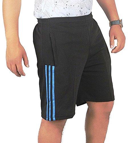 TRINITY JEANS COMPANY Men's Polyester Stripped Shorts Black_XXL
