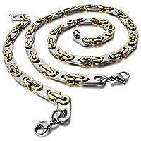 Stainless Steel Men Necklace - Bracelet Set Link Byzantine Chain Biker Silver Gold - Adisaer