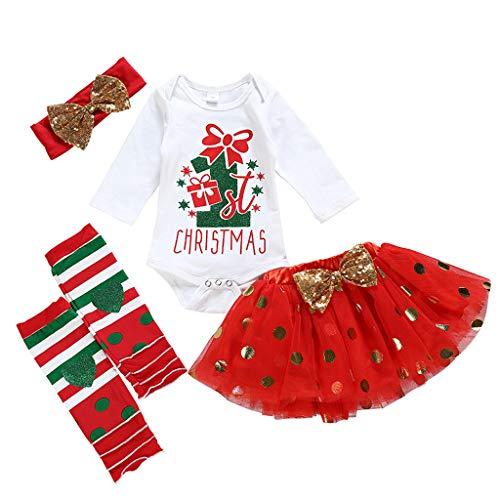 MEIbax 4 Pezzi Neonato Bambino Vestiti con Fascia Abiti Vestito Manica Lunga per Bambini 0-2 Anni Set Natale Stampa Pagliaccetto Tutu Gonna Abito,Abbigliamento Premam