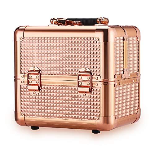 Ovonni Kosmetikkoffer Make up Koffer Multikoffer Cosmetic Beauty Case 3 Ebenen mit 4 Tabletts/9 Fächern 18x19x25cm Rotgold - Drei-ebene