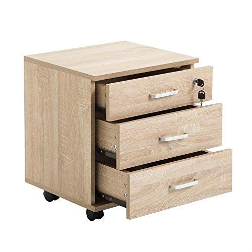 CARO-Möbel Rollcontainer SATURN Aktenschrank Bürocontainer mit 3 Schubladen in Sonoma Eiche, abschließbar - 3