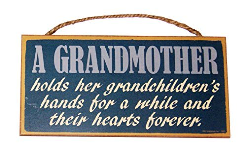 A Grandmother holds hand for a while and their hearts forever 5x10 Wood Sign by SJT.