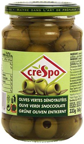Crespo Olives Vertes Dénoyautées le Bocal 160 g - Lot de 4