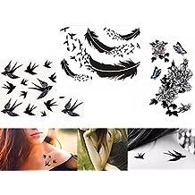 Ressort Oiseaux Fleurs tatouage noir 3feuilles Kit faux tatouage autocollants