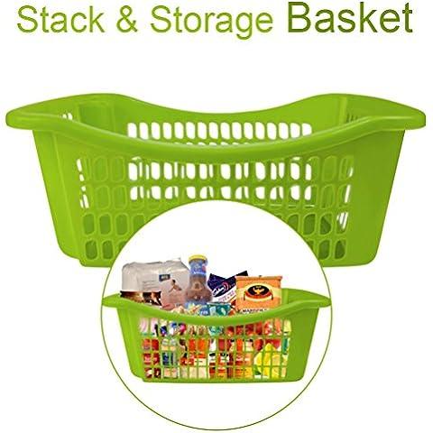 Impilabili Baskets- salvaspazio Solution- Cabinet Organizer- Store Cereali, negozi, utensili da cucina, pulizia supplies- costruzione in plastica durevole, plastica, Green, confezione da 1