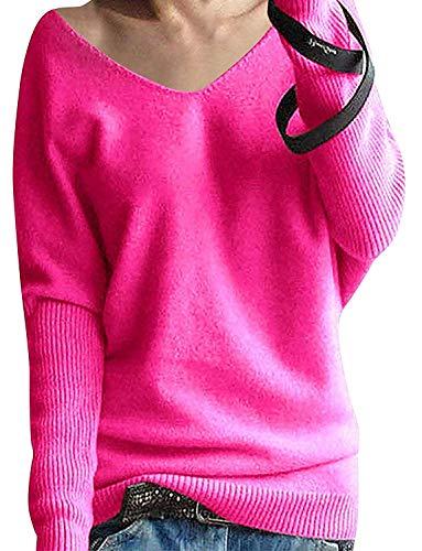 Roter Kaschmir-pullover (Yidarton Damen Mode Kaschmir Pullover übergroße Lose Langen Ärmeln V-Ausschnitt Fledermausflügel Herbst und Winter Warm Strickpullover (Rot-2, S))