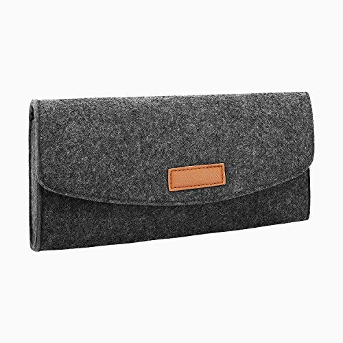 MoKo Storage Bag for Nintendo Switch, Carrying Portable Felt Protective Pouch Travel Slim Case with Game Cartridge Cards for Nintendo Switch – Dark Gary