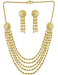 DollsofIndia Gold Plated 4 Layer Necklace With Earrings - Necklace - 22 Inches, Pendant - 2.25 Inches (RD19-mod...
