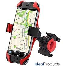 Ideal Products Soporte Bicicleta para Teléfonos Móviles y GPS, de Uso Universal para todos los Smartphone y móviles Apple iPhone 6 plus/6s/6s,etc... Samsung, Sony Xperia, Motorola, Blackberry, LG Phones, Huawei, HTC, etc - Provisto de agarre extensible de silicona antideslizante y también de una cinta de sujeción de caucho para los 4 lados del teléfono, que aseguran una inmovilización perfecta. De fácil Instalación (no precisa de herramientas).