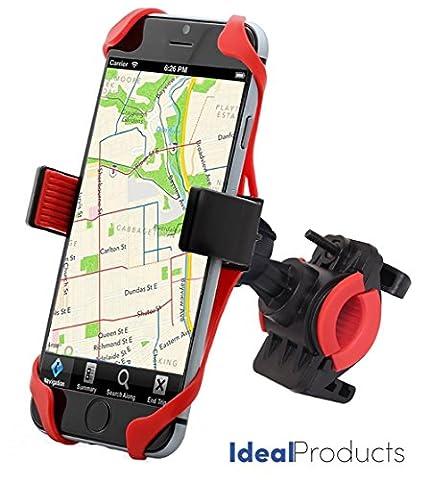 Ideal Products Support Vélo pour Téléphones portables et GPS, d'Utilisation Universelle pour tous les Smartphone et portables Apple iPhone 6 plus/6s/6s, etc... Samsung, Sony Xperia, Motorola, Blackberry, LG Phones, Huawei, HTC, etc. - Pourvu d'une attache extensible en silicone antidérapante et aussi d'une sangle de fixation en caoutchouc pour les 4 côtés du téléphone, qui assurent une immobilisation parfaite. Installation facile (pas besoin d'outils).