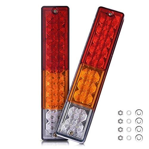 QXXZ 20 LED Anhänger Rückleuchten Bar-Waterproof, DC12V Blinker und Park Rückbremse Lauflampe Für Auto LKW Rot-Amber-White (2 Pack) (Licht 5 Park Anhänger)