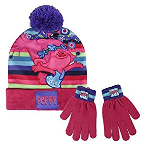 f1c10c22033 Image Unavailable. Image not available for. Colour  Trolls 2200002452 Poppy  Children s Winter Set Includes Beanie Bobble Hat and Gloves ...