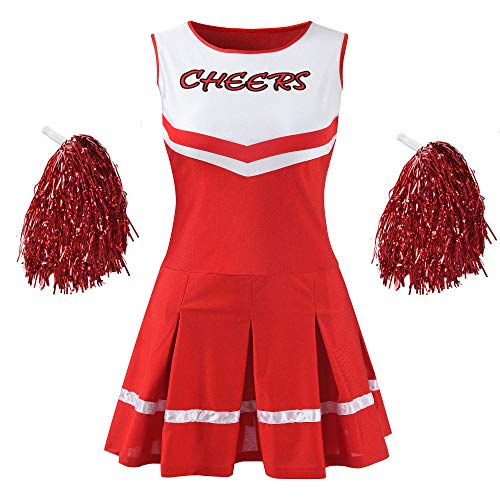 Makroyl Damen Musikalische Uniform, komplettes Outfit High School Cheerleader Kostüm, Damen, rot, Medium