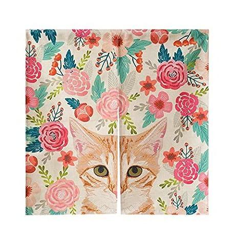Leinen Türvorhänge Halbschatten Vorhänge Schlafzimmer Badezimmer Vorhang Katze Und Blumen