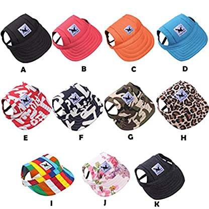 wuayi TAILUP Small Pet Casual Summer Canvas Cap Dog Baseball Visor Hat Puppy Outdoor Sunbonnet Cap (S, B) 3