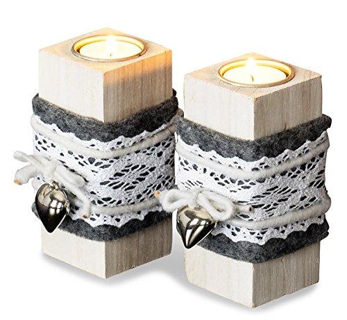 levandeo 2er Set Teelichthalter Holz je 14cm hoch Kerzenhalter Shabby Chic Weiß Metall Herz Vintage
