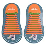 Elastic Silicone No Tie Shoe Laces For Adults Shoes (20pcs) in Orange