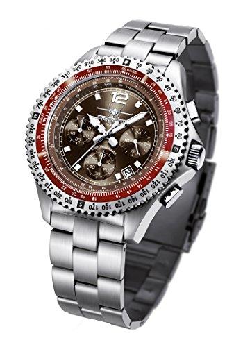 FIREFOX FIGHTER FFS05-106 sunray coffee Chronograph Herrenuhr Armbanduhr massiv Edelstahl Sicherheitsfaltschließe 10 ATM Prüfdruck