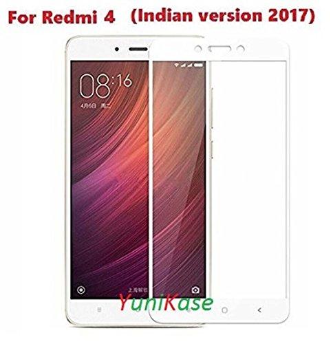 YuniKase Xiaomi Redmi 4 / Redmi 4 / Mi 4 / Redmi4 / Mi4 2.5D curved 3D Edge to Edge Tempered Glass Mobile Screen Protector - - - ( White ) (Not Compatible for Redmi Note 4)