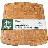 Tabla de cortar de bambú extra grande, bloque grueso de carnicero con ranura para zumo y empuñaduras para los dedos, 45 x 35 x 3 cm, elegante tabla de ahorro para encimera de trabajo
