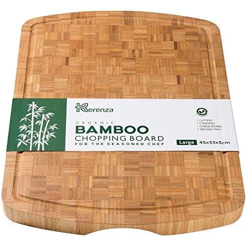 Tagliere in bambù organico a grana fine, super spesso, con scanalatura per liquidi e impugnatura, 45 x 33 x 3 cm