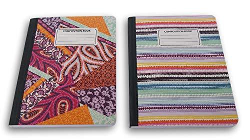 Dreiecke und Streifen gemustert breit liniert 100Blatt Zusammensetzung Notebooks-(Pack von 2) (Notebooks Bulk Zusammensetzung In)