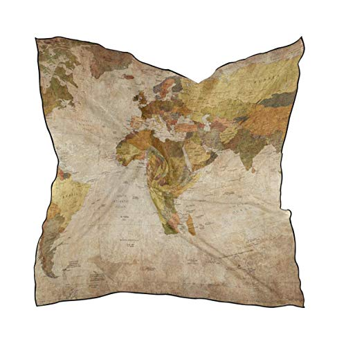 Hipiyoled Vintage Old World Map Square Scarf Head Wrap Hair Scarves Satin Hair Wrap