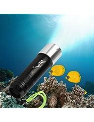Samoleus Aluminium 1100LM LED Tauchen Taschenlampe LED Handgerät Taschenlampe für Tauchen, Camping, Support 26650, 18650, AAA Batterie (nicht enthalten) (1100LM-Schwarz)