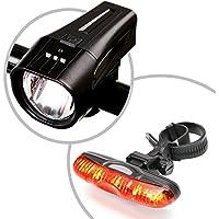 ONEU StVZO LED Fahrradbeleuchtung Set   Fahrradlampen/Fahrradlicht/Fahrradlampenset inkl. Front- und Rücklicht   Helle LED (200Lux)   energiesparend   Regen- und Stoßfest