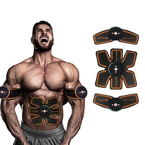 EMS electroestimulador Muscular USB de Carga, músculos Abdominales Muscle Training Device Instrumento Perezoso de Fitness Inteligente 6 Modos 9 Clases de Intensidad, Black
