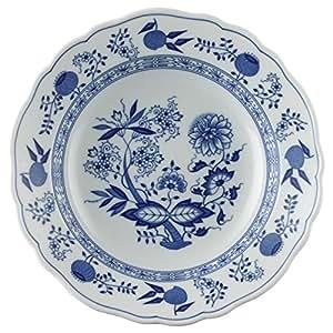 Hutschenreuther 10123 - Piatto fondo con bordino, in porcellana, motivo: cipolle, 23 cm, colore: blu
