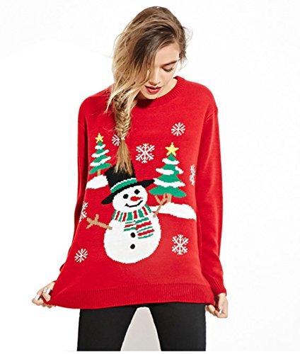 Maglione Natalizio con Pupazzo di neve- Maniche lunghe - Donna CMY03 Rosso