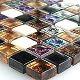 Glas Marmor Mosaik Fliesen Bunt Mix Perlmutt Effekt 15x15x8mm